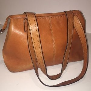 FOSSIL distressed leather bag w/stitched accents